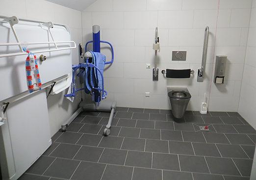 """... und so sieht die neue """"Toilette für alle"""", eine Rollstuhl-Toilette mit höhenverstellbarer Pflegeliege und Lifter aus ..."""